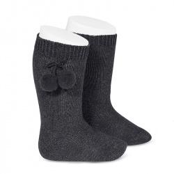 Chaussettes hautes coton chaud avec pompoms ANTHRACITE