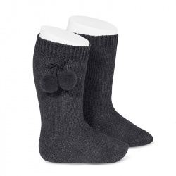 Warm cotton knee-high socks with pompoms ANTHRACITE