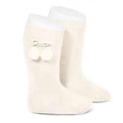 Warm cotton knee-high socks with pompoms BEIGE