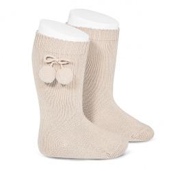 Chaussettes hautes coton chaud avec pompoms LIN