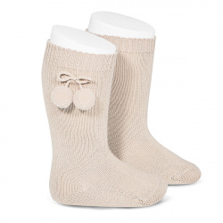 Warm cotton knee-high socks with pompoms LINEN