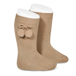 Warm cotton knee-high socks with pompoms CAMEL