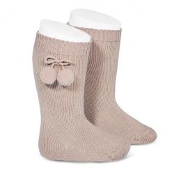 Warm cotton knee-high socks with pompoms STONE