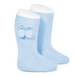 Calcetines altos algodón cálido con borlas AZUL BEBE