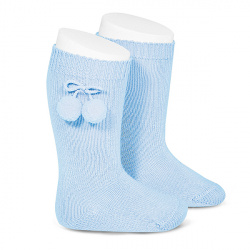 Warm cotton knee-high socks with pompoms BABY BLUE