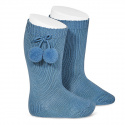 Warm cotton knee-high socks with pompoms FRENCH BLUE