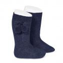 Calcetines altos algodón cálido con borlas MARINO