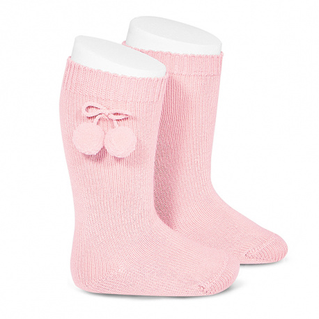 Warm cotton knee-high socks with pompoms PINK