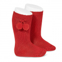 Warm cotton knee-high socks with pompoms RED