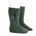 Warm cotton knee-high socks with pompoms PINE
