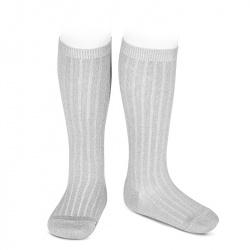 Lurex rib knee-high socks ALUMINIUM