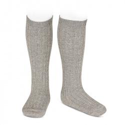 Chaussettes hautes côtelée avec lurex GRIS CLAIR