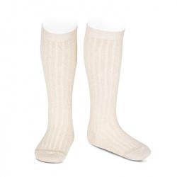 Lurex rib knee-high socks BEIGE