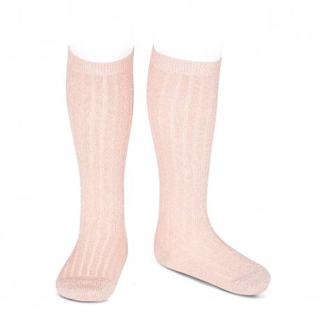 Lurex rib knee-high socks OLD ROSE