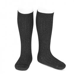 Chaussettes hautes côtelée avec lurex NOIR