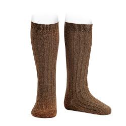 Lurex rib knee-high socks BROWN