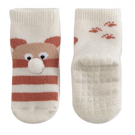 Teddy non-slip short socks BEIGE