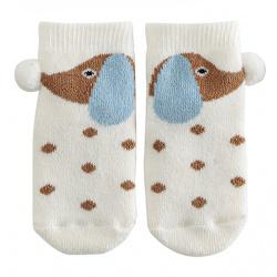 Chaussettes antidérapantes chien petit pois ECRU