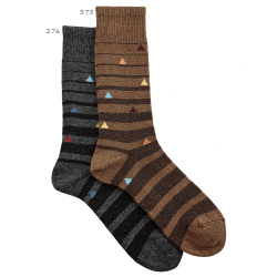 Chaussettes rayures irregulieres homme