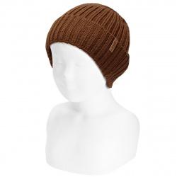 Bonnet côtelée ourlet en laine-merino mélange CHOCOLAT
