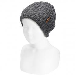 Merino wool-blend fold-over ribbed beanie LIGHT GREY