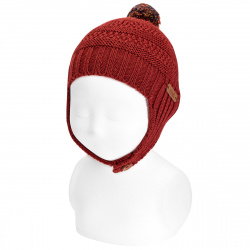 Baby merino wool hat with earflaps and pompom CAULDRON