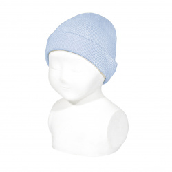 Fold-over ribbed cotton beanie BABY BLUE