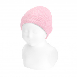 Fold-over ribbed cotton beanie PINK