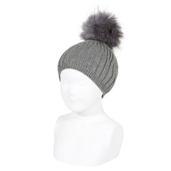 Mix-rib cotton hat with faux fur pompom LIGHT GREY