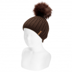 Mix-rib cotton hat with faux fur pompom BROWN