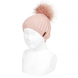 Mix-rib cotton hat with faux fur pompom OLD ROSE