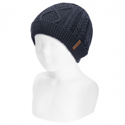 Fold-over braided knit hat with spikes NAVY BLUE