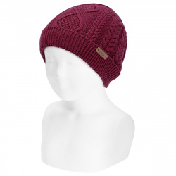 Fold-over braided knit hat with spikes GARNET