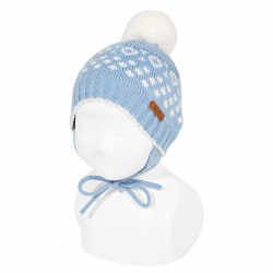 Iced beanie with earflaps and pompom BLUISH