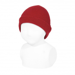 Fold-over ribbed beanie RED
