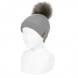 Bonnet côtelé avec ourlet et pompom GRIS CLAIR
