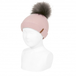Rib beanie with faux fur pompom PALE PINK