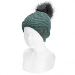Rib beanie with faux fur pompom LICHEN GREEN