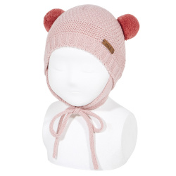 Sand stitch beanie with earflaps and pompoms PALE PINK
