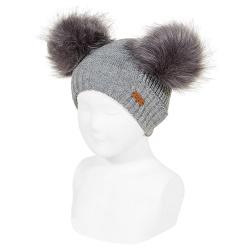 Bonnet mix tricot avec deux pompoms fauxfur GRIS CLAIR