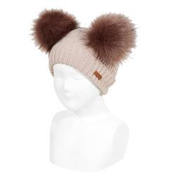 Bonnet mix tricot avec deux pompoms fauxfur PIERRE