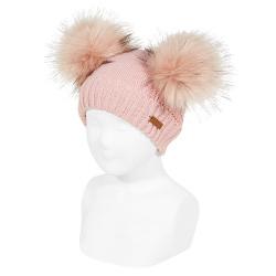 Bonnet mix tricot avec deux pompoms fauxfur PALE ROSE