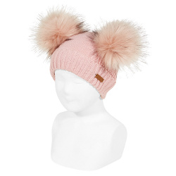 Mixed-stitch knit hat with giant faux fur pompom PALE PINK