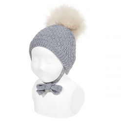 Honeycomb knit hat with faux fur pompom LIGHT GREY