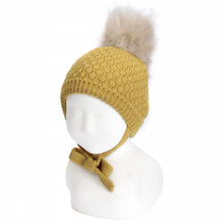 Honeycomb knit hat with faux fur pompom MUSTARD
