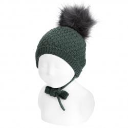 Bonnet relief rayon avec pompom faux fur PIN