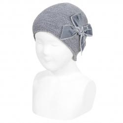 Garter stitch knit hat with big velvet bow LIGHT GREY