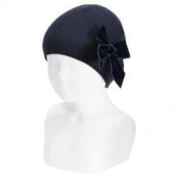 Garter stitch knit hat with big velvet bow NAVY BLUE