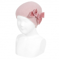 Garter stitch knit hat with big velvet bow PALE PINK
