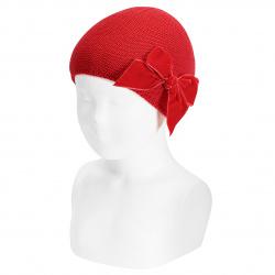 Garter stitch knit hat with big velvet bow RED